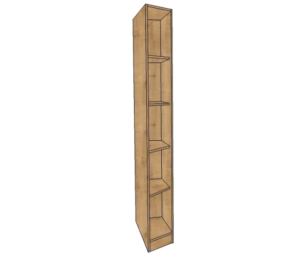 365mm Wide Splayed Angled Wardrobe, Fully Shelved